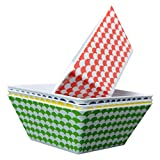 Clever Home Set of 4 Melamine Plates with Multi Color Scallop Design (6 in Square Soup Bowl, Bright Colors)