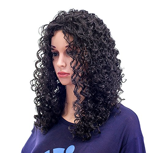 ig Bouffant Curly Wigs for Women Synthetic Heat Resistant Fiber Hair Pieces with Wig Cap (Black) ()