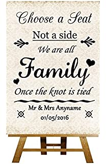 1caf4213fef4cf Choose A Seat Not A Side Shabby Chic Ivory Collection Personalised Printed  Card Wedding Sign