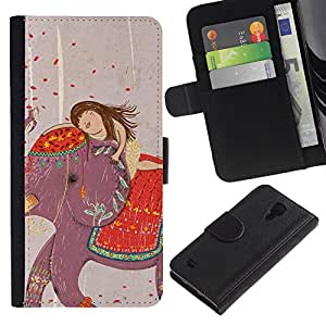 KingStore / Leather Etui en cuir / Samsung Galaxy S4 IV I9500 / Dibujo India Chica del arte