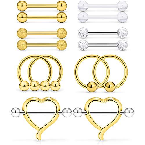 Ftovosyo 7 Pairs 14G 316L Stainless Steel Heart Nipple Shield Ring & Nipple Barbell Bar Retainer & Nipplerings Hoop Rings Piercing Jewelry for Women Men 14mm(9/16 inch) Gold-Tone ()