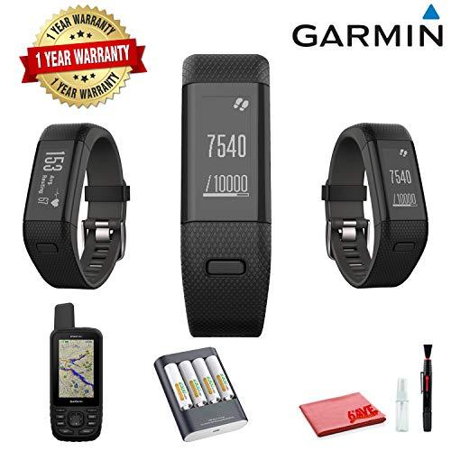 Garmin vivosmart HR+ Activity Tracker (Regular, Black/Shark Fin Gray) with Garmin MAP GPS (Hike, Trail, Mountain Biking) and 1 Year Extended Warranty