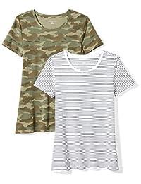 Amazon Essentials Women's 2-Pack Short-Sleeve Crewneck Patterned T-Shirt