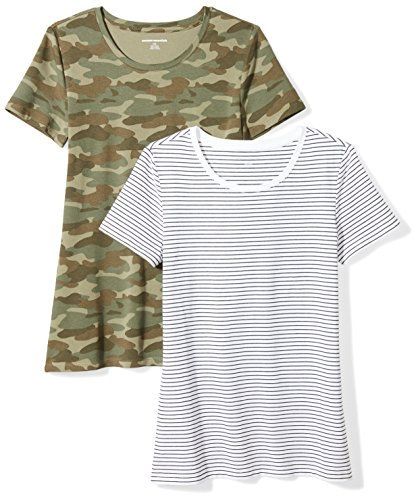 Layered Crewneck T-shirt - Amazon Essentials Women's 2-Pack Classic-Fit Short-Sleeve Crewneck T-Shirt, White Stripe/Camo Print, Medium