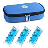 Insulin Cooler Bag Diabetic Organizer Medical Travel Cooler Pack with 3 Ice Pack (Blue)