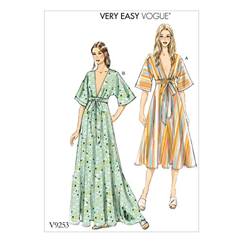 Vogue Patterns V9253ZZ0 Misses' Deep-V Kimono-Style Dresses with Self Tie Sewing Pattern, 16-18-20-22-24-26, Red - Broadcloth Tie