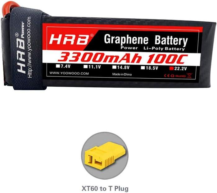HRB 6S Graphene Battery 22.2V 3300mAh 100C Graphene Lipo Batería con XT60 Deans T Adaptador Enchufe para Helicópteros RC Quadcopter Avión Coche Camión Barco Drone y FPV