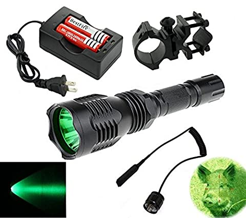 BestFire® Portable HS-802 350 Lumens Cree led Tactical Flashlight 250 Yard Long Range Hunting Light Cree LED Light Coyote Hog Hunting Light Torch with Remote Pressure Switch Barrel Mount 18650 Rechargeable battery and Charger Perfect for Hunting Fishing (Green (350 Lumen Light)