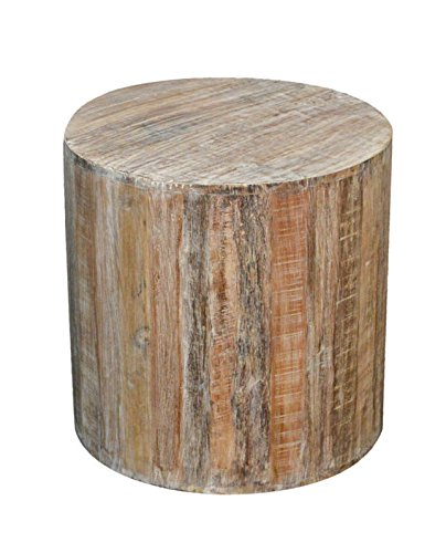 Amazoncom Distressed White Reclaimed Wood Antique Style Round - White tree stump side table