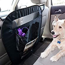 FurHaven Pet Car Seat Barrier   Universal Pop-Up Pet Car Seat Barrier with Accessory Storage Bag, Black, One Size