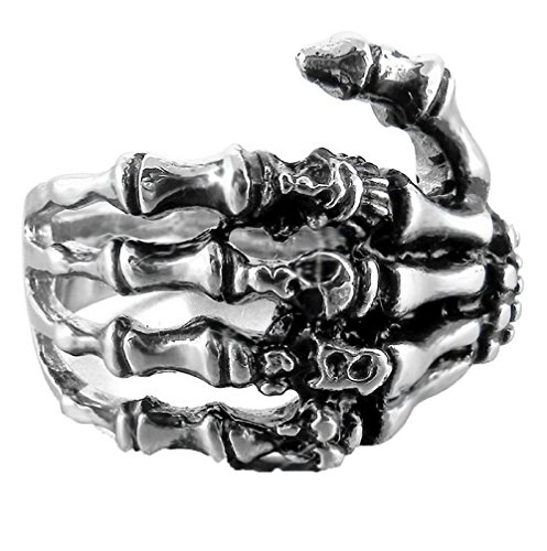 FIBO STEEL Skull Ring Stainless Steel Skull Rings for Men Women Vintage Gothic Ring Biker,Size 11