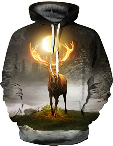 Unisex Realistic 3d Print Galaxy Pullover Hoodie Hooded Sweatshirt (Small/Medium, Deer D)