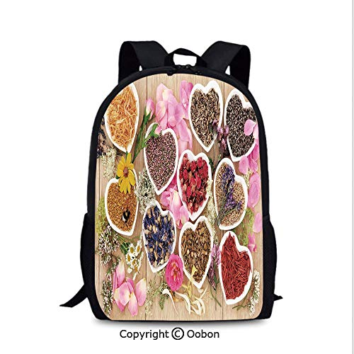 - Lady Custom Backpack, Healing Herbs Heart Shaped Bowls Flower Petals on Wooden, School Bag :Suitable for Men and Women, School, Travel, Daily use, etc.Multicolor