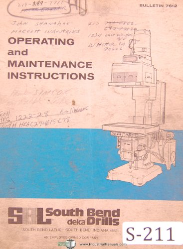 South Bend Lathe HRG, Deka, Drilling - Tapping Machine, Set Up & Parts Manual
