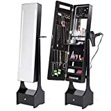 Best Choice Products Full Length Standing LED Mirrored Jewelry Makeup Storage Cabinet Armoire w/Interior & Exterior Lights, Touchscreen, Shelf, Velvet Lining, 4 Compartments, Drawer, Black