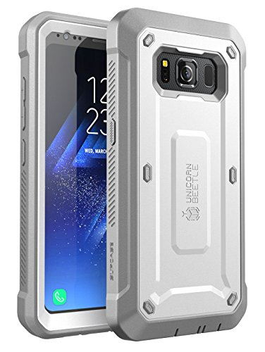 SUPCASE NA Galaxy S8 Active Case, [Unicorn Beetle Pro Series] Full-Body Rugged Holster Case with Built-in Screen Protector for Samsung Galaxy S8 Active, White/Gray