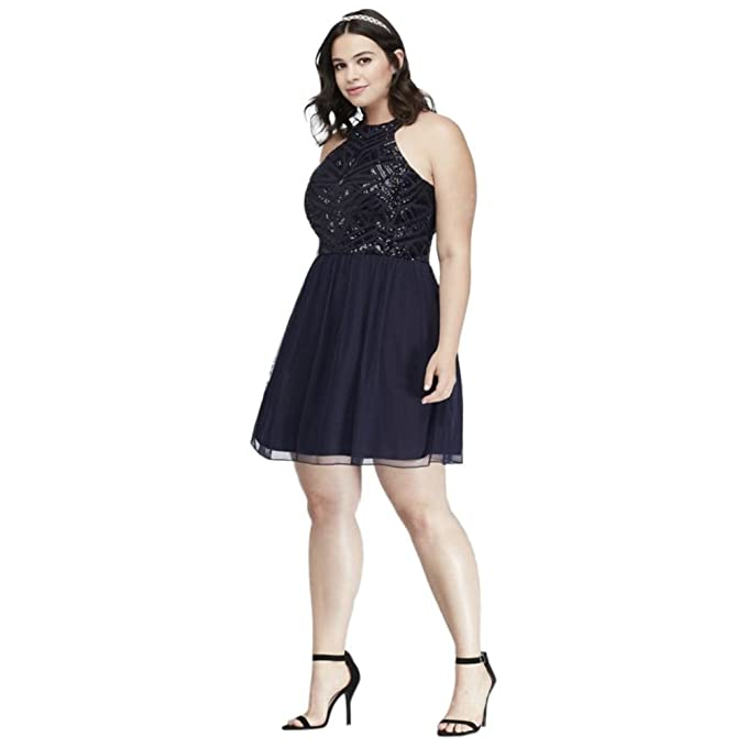 Davids Bridal Geometric Sequin Mesh Plus Size Prom Dress Style