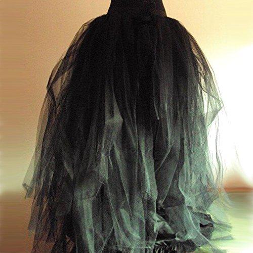 Mujer Noche Larga Para Bodas De Falda Negro Varias Tul Fiestas Capas AnYBAqg6W7