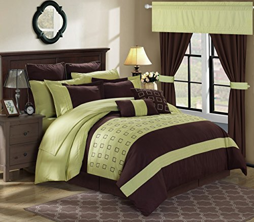 Chic Home 24 Piece Lorde Complete Embroidery Comforter Set, Queen, Green (Queen 24 Piece Comforter Set)