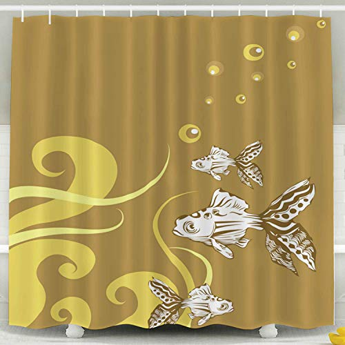 KIOAO Farmhouse Shower Curtain Liner Fabric,Tropical Fish 78X72Inch Waterproof Extra Long Shower Curtains