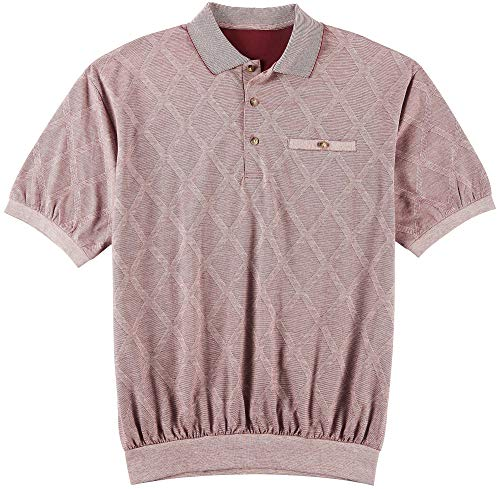 Windham Pointe Mens Diamond Print Banded Polo Shirt Large Burgundy red