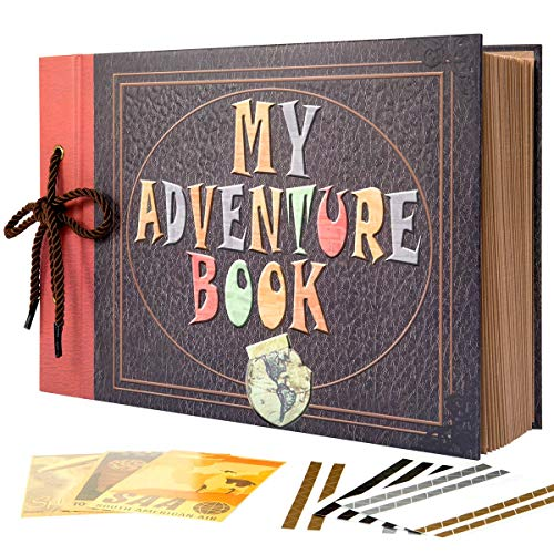 Scrapbook Custom Pages - INNOCHEER Adventure Book with Embossed Cover, Large 12.3 x 8.3 Inch 80 Pages Scrapbook Album, Gifts for Thanksgiving Day, Christmas, Anniversary, Family Memory