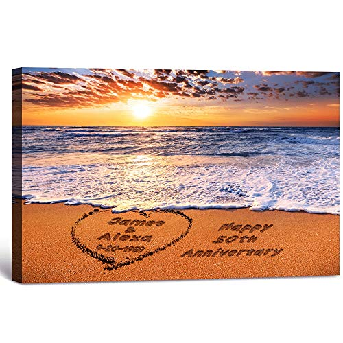 Beach Lovers- Personalized Canvas Prints with Couple's Names on it, for Anniversary, Wedding, Valentine's Day. 18x12