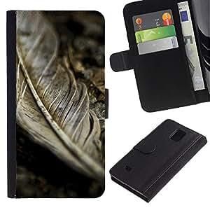 WINCASE Cuadro Funda Voltear Cuero Ranura Tarjetas TPU Carcasas Protectora Cover Case Para Samsung Galaxy Note 4 IV - viñeta rústico caída del otoño gris