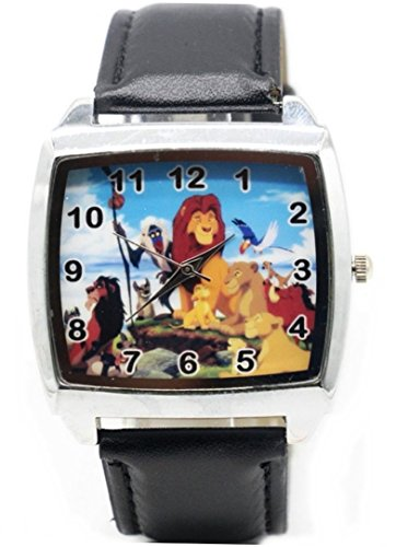The Lion King Cast Square Face Black Leather Band Wrist Watch
