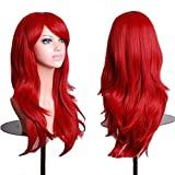 TopWigy Red Cosplay Wigs Women Long Wavy Synthetic Hair Colored Ariel Custome Party Wig (Red 28'')