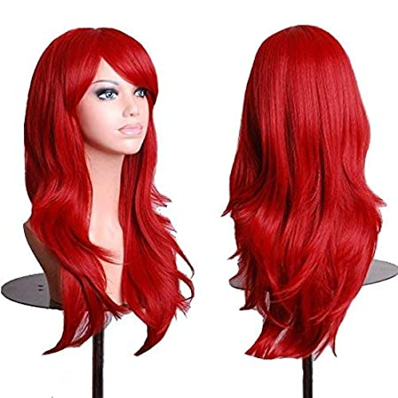 TopWigy Red Cosplay Wigs Women Long Wavy Synthetic Hair Colored Ariel Custome Party Wig (Red 28)