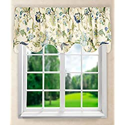 "Ellis Curtain Brissac Lined Scallop Valance, 70 x 17"", Blue"