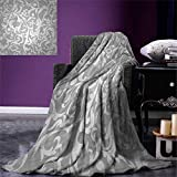 Anniutwo Silver Travel Throw Blanket Victorian Style Large Leaf Floral Pattern Swirl Classic Abstract French Vintage Print Velvet Plush Throw Blanket 60''x50'' Gray