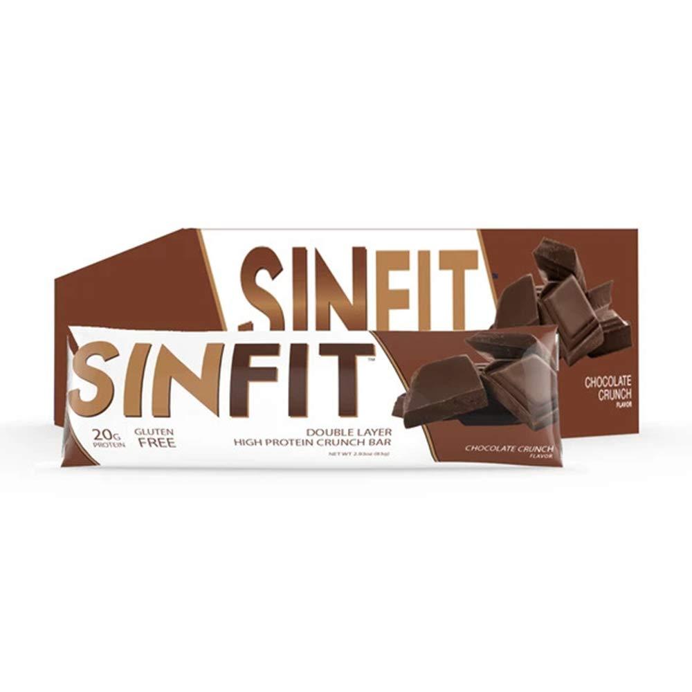 SINFIT Nutrition Double Layer High Protein Crunch Bar,Chocolate Crunch,20g Protein, Gluten Free, Whey Protein, Low Sugar (12 Count)