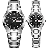 Couple Watches for Lover Men's and Women Black Quartz Simple Ultrathin Ceramic Wrist Watch Set of 2 (Silver)
