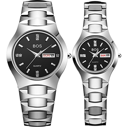 Couple Watches for Lover Men's and Women Black Quartz Simple Ultrathin Ceramic Wrist Watch Set of 2 (Silver) by AngeLa Bos
