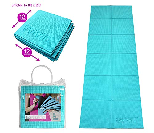 VViViD Foldable Thick PVC Padded Square Tile 6ft x 2ft Workout and Yoga Mat (Value Pack, 2-Pack)