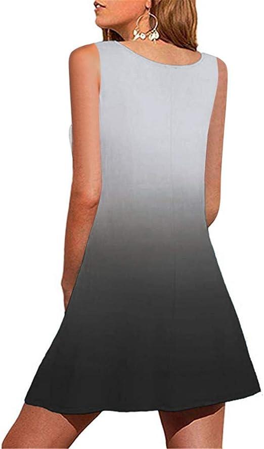 Covermason sukienka damska, na imprezę, plażę, lato, elegancka, w stylu boho, luźna, styl vintage, bez rękawÓw, na co dzień, na plażę, na urlop, na bak, mini sukienka: Odzież