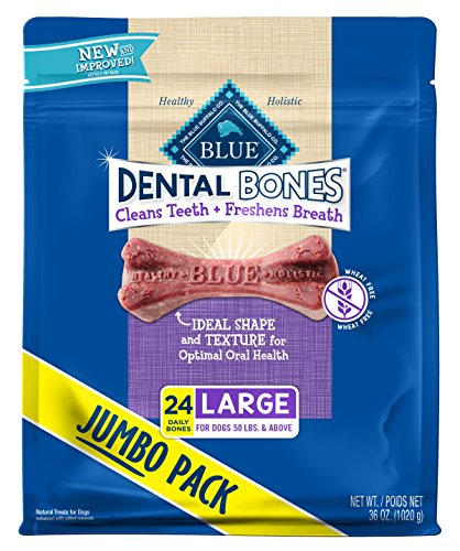Blue Buffalo Dental Bones Natural Adult Dental Chew Dog Treat, Large 12-oz bag ()