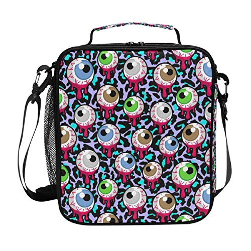 Insulated Lunch Bag with Halloween Gothic Eyeball Eye Zombie Print, Lunch Box Cooler Bag with Shoulder Strap for School Picnic -