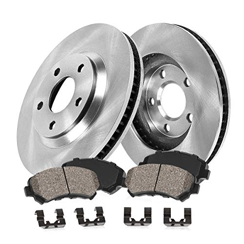 OE 5 Lug [2] Brake Disc Rotors + [4] Ceramic Brake Pads + Clips ()