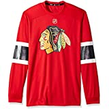adidas NHL Chicago Blackhawks Mens Silver L/s jersey Teesilver L/s jersey Tee, Red, 3X-Large