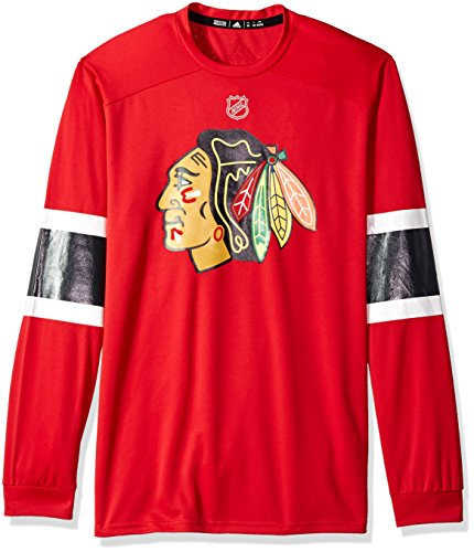 adidas NHL Chicago Blackhawks Mens Silver L/s jersey Teesilver L/s jersey Tee, Red, Medium
