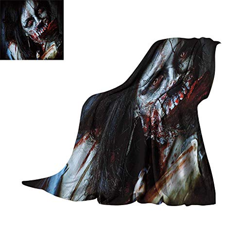 RenteriaDecor Zombie Decor,Plush Throw Blanket Scary Dead Woman with Bloody Axe Evil Fantasy Gothic Mystery Halloween Picture Plush Microfiber Blanket W70 x L60 inch ()