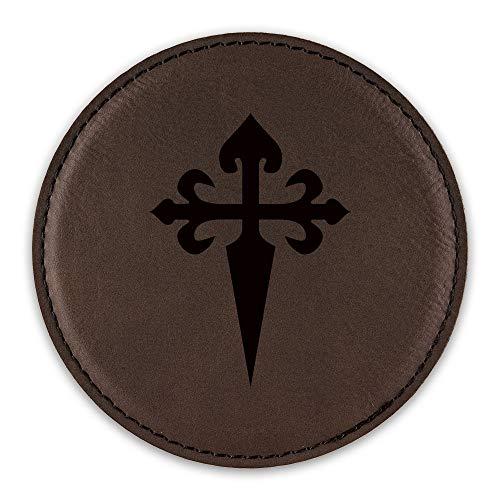 St. James Santiago Drink Coaster Leatherette Round Coasters maltese cross - Dark Brown - One - Maltese Brown Cross