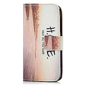 BestCool Funda Cuero PU para Samsung Galaxy A3 Carcasa Case Flip Tipo Libro con Ranura de Tarjeta - Patrón HOPE Diseño (Naranja Blanca)