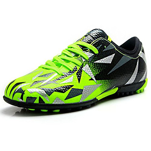 Tiebao Unisex Kids Adults Lace Up Rubber Cleats Football Shoes Boots for Hard Artificial Ground Indoor Green S76516 Junior US5.5