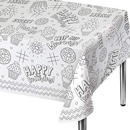 Party Envy Happy Birthday Coloring Activity Tablecloth Plus Reusable Magnets (Boy-Blue) (Tablecloth only)