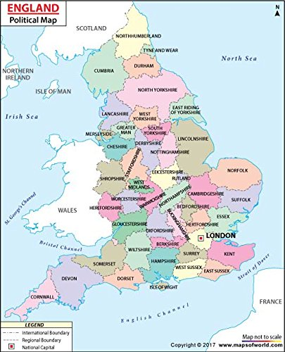 Map Of England Political.Amazon Com England Political Map Laminated 36 W X 44 27 H