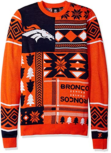 Denver Broncos Patches Ugly Crew Neck Sweater Large (Renewed)